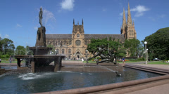 Hyde park fountain with St Mary Cathedral Stock Footage