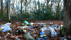 Rubbish tipped in countryside (dolly) Stock Footage