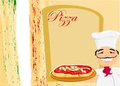 Stock Illustration of chef with pizza -  menu template