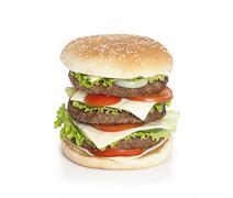 Hamburger over white Stock Photos