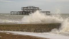 The West Pier, Brighton, UK - Crashing Waves Stock Footage
