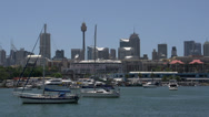 Stock Video Footage of Glebe Point with Sydney skyline and Sydney tower