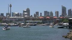 Glebe Point with Sydney skyline and Sydney tower Stock Footage