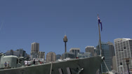 Stock Video Footage of Front of a big marine ship with the Australian flag