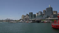 Stock Video Footage of Pan from Darling harbour skyline view from the national maritime museum