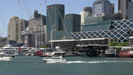 Stock Video Footage of Boats arriving and leaving darling harbour in Sydney