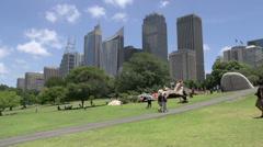 People walking around the Botanic gardens in Sydney Stock Footage