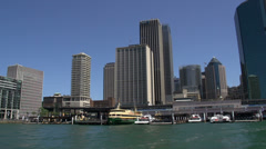 Arriving at Circular Quay filmed from a ferry Stock Footage