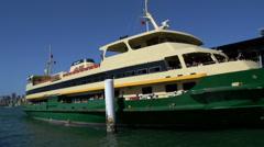 Stock Video Footage of Big Ferry leaving Circular Quay harbor in Sydney