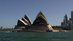 View from the water from around the Opera House in Sydney Stock Footage