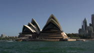 Stock Video Footage of View from the water from around the Opera House in Sydney