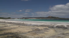 Pan from Lucky Bay beach in Cape Le Grand National Park Stock Footage