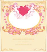 happy valentines day card with cupids - stock illustration