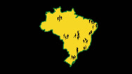 Stock Video Footage of Map of Brazil. The cities in which the World Cup takes place.