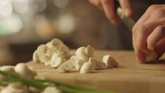 Professional Chef is Rapidly Chopping Vegetables in Kitchen - stock footage