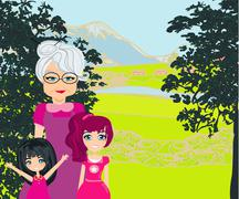 grandmother with grandchildren on a walk in the park - stock illustration