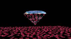 Diamond attracting rose petals, Luma Matte - stock footage