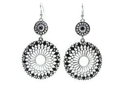 jewelry earrings with bright crystals - stock photo