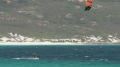 Kitesurfer at lucky beach in Cape Le Grand National Park Stock Footage