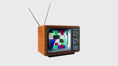Old TV Crystallize into a New TV against white, static camera, Screen only Alpha Stock Footage