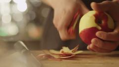 Professional Chef is Rapidly Chopping Red Apple in Kitchen - stock footage
