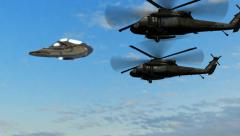 UFO escorted by Black Hawk helicopters Stock Footage