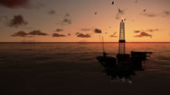 Stock Video Footage of Oil Rig in ocean, timelapse sunrise, tilt