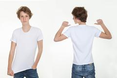 Stock Photo of blank white t shirt back and front