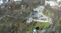 small  winter river in city park. Aerial panorama Footage