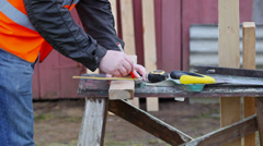 Carpenter with pencil and  meter episode 1 Stock Footage