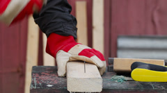 Carpenter with hammer Stock Footage