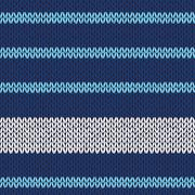 seamless knitted pattern with blue white stripes - stock illustration