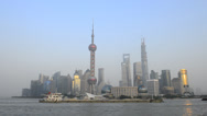 Stock Video Footage of China, Shanghai, Skyline of the Pudong Financial District across Huangpu River