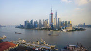 Stock Video Footage of Shanghai, Zoom Timelapse Day to Night, Pudong Skyline across Huangpu River