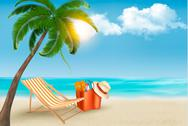Stock Illustration of palm leaves on beach. vector illustration.
