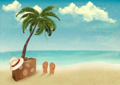 Vintage seaside background with suitcase and a hat. vector illustration. Stock Illustration