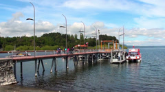 0636  Pier at Villarrica lake, Chile Stock Footage