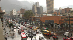 Rainy Afternoon  Rush hour downtown Bogota Colombia 8706 Stock Footage