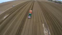 Flight over Beautiful potato field Stock Footage