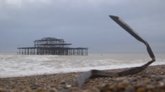 The West Pier, Brighton, UK - dusk - Pull Focus Stock Footage