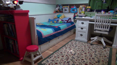 Boy's bedroom, empty children's playroom, furniture, home decoration - stock footage