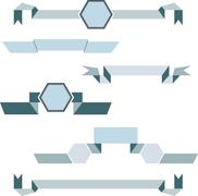 Set of geometric ribbos in blue colors - stock illustration