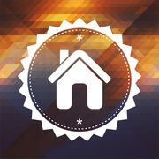 Home Icon on Triangle Background. - stock illustration
