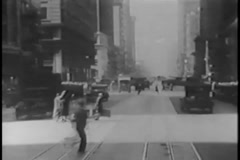 Point of view of New York City streets from car, 1930s - stock footage