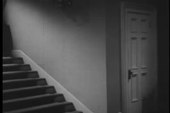Point of view shot of staircase in house, 1940s Stock Footage