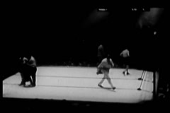 High angle view of boxers beginning match, Madison Square Garden, 1930s Stock Footage