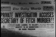 Stock Video Footage of Zoom in  to newspaper headline, 1940s
