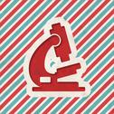 Stock Illustration of Microscope Icon on Retro Striped Background.