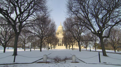 Rhode island statehouse in snow Stock Footage