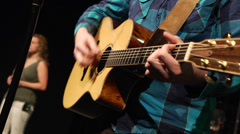 Acoustic Guitar praise and worship on stage at Church (Band Leader) - stock footage